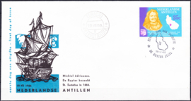Plaatfout Ned. Antillen 371 P op FDC onbeschreven met open klep