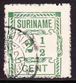 Plaatfout Suriname 66a type 2 P  gebruikt E-3281