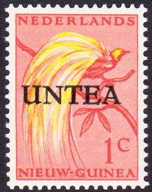 Plaatfout Ned. Nieuw Guinea 25 PM2 op UNTEA 1 Postfris