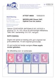 Dienst D20-D24 Dienst  Ongebruikt en gekeurd H. Vleeming Cataloguswaarde 1.250,00
