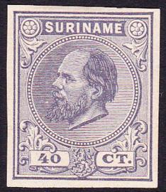 Suriname Proef van de 40 ct  Willem III zoals uitgegeven zonder gom