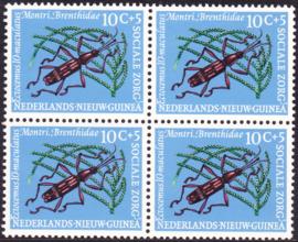Plaatfout Ned. Nieuw Guinea 70 PM   in blok van 4 Postfris