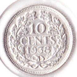 10 cent 1938 Zilver (Pracht)