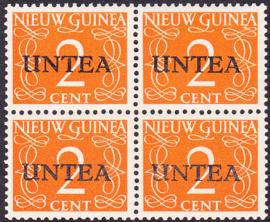 Plaatfout Ned. Nieuw Guinea 2 PM1 op UNTEA 2 Postfris in blok van 4