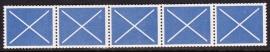Test rolzegels blauw strip van 5  SCHAARS E-0658