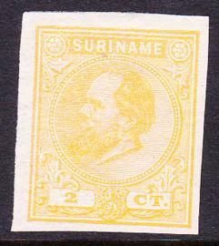Suriname Proef 9a van de 2 Ct.  Willem III zoals uitgegeven zonder gom