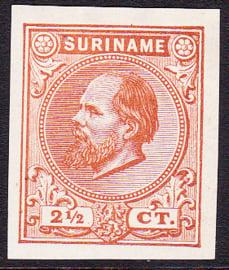 Suriname Proef 1g van de 2½ Ct. Willem III zoals uitgegeven zonder gom
