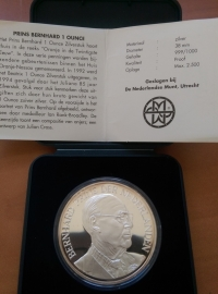 Penning Prins Bernhard 1995 '''' PROOF zilver 999/1000 1OZ