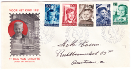FDC E6 Kinderpostzegels 1951  Beschreven met dichte klep