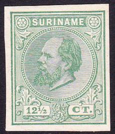 Suriname Proef 10c van de 12½ Ct. Willem III zoals uitgegeven zonder gom