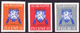 NVPH 197-199 Vrij Nederland-zegels ONGETAND Cataloguswaarde --.--7