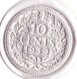10 cent 1939  Zilver (Pracht)