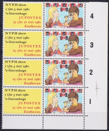 Plaatfout 1201 PM8+9  Postfris  in blok van 4   A-0432
