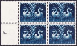 Plaatfout  407 PM6 Postfris  in blok van 4 Cataloguswaarde 12,00