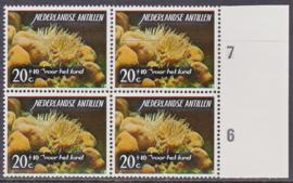 Ned. Antillen plaatfout 367 PM Postfris in blok van 4  E-6708