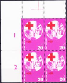Plaatfout  1016 PM  Postfris in blok van 4 Cataloguswaarde 17.00