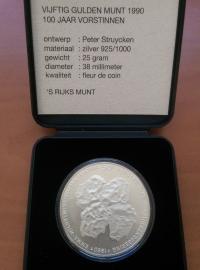 50 Gulden 1990  ''100 jaar vorstinnen'' Zilver 925/1000 (FDC)
