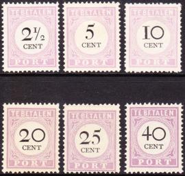 NVPH P9-14 Port Cijfer en waarde in zwart Ongebruikt Cataloguswaarde: 49.50