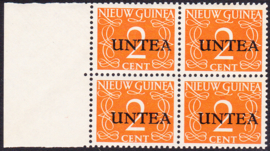 Plaatfout Ned. Nieuw Guinea 2 P op UNTEA 2 Postfris in blok van 4