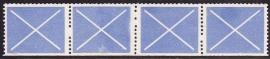 Test rolzegels licht blauw strip van 4  SCHAARS E-0909