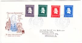 FDC E7 Jan van Riebeeck 1952  Getypt met dichte klep