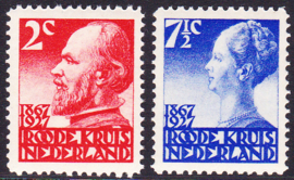 NVPH 203b/206b Rode Kruiszegels 1927 Postfris Cataloguswaarde 30.00