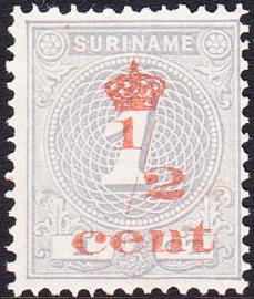 Plaatfout Suriname 16 PM1  op NR 60 Postfris