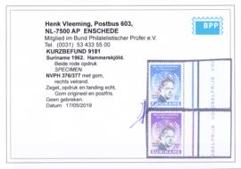 NVPH 376-377 Hammerskjold MET OPDRUK SPECIMEN Postfris