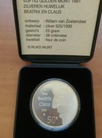 50 Gulden 1991  ''Zilveren Huwelijk Beatrix en Claus'' Zilver  (FDC)