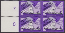 Plaatfout  1027 PM  in blok van 4 Postfris  Cataloguswaarde 20.00++  E-3698