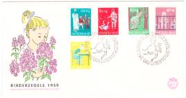 FDC E41  ''Kinderpostzegels 1959'' ONBESCHREVEN met OPEN klep