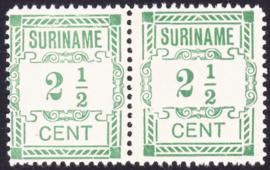 Plaatfout Suriname 66a type 2 P in paar Ongebruikt