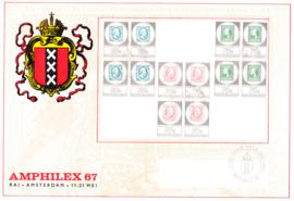 Complete set Amphilex in blokjes van 4 op groot formaat FDC onbeschreven met open klep