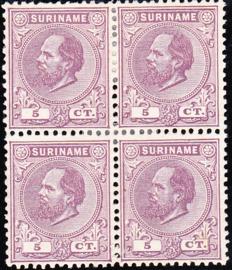 NVPH 5 Koning Willem III IN BLOK VAN 4 Ongebruikt Cataloguswaarde 100.00++