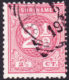 Plaatfout Suriname 18 P1  Gestempeld