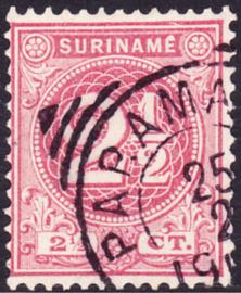 Plaatfout Suriname 18 P  Gestempeld