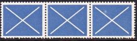 Test rolzegels blauw +  plaatfout op zegel 3  SCHAARS E-0826