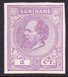 Suriname Proef 9d van de 2 Ct. Willem III zoals uitgegeven zonder gom