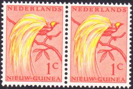 Plaatfout Ned. Nieuw Guinea 25 PM1 Postfris in paar