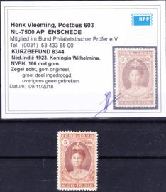 NVPH 166 Koningin Wilhelmina Ongebruikt met Befund H. Vleeming