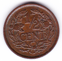 Halve cent 1937 Koningin Wilhelmina   (Pracht)