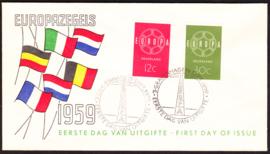 FDC E39  ''Europazegels 1959'' ONBESCHREVEN met open klep