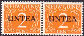 Plaatfout Ned. Nieuw Guinea 2 PM2 op UNTEA 2 Postfris in paar