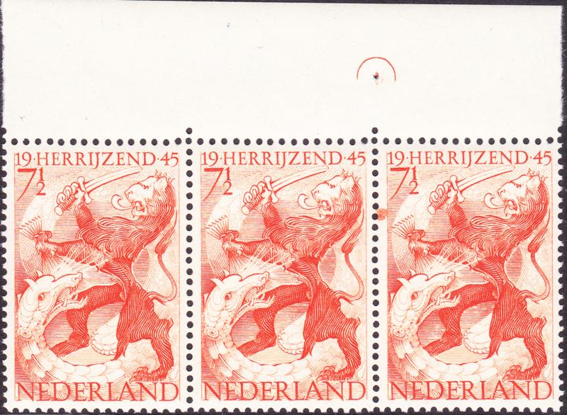 Plaatfout  443 PM2 in strook van 3 Postfris  Cataloguswaarde 140,00