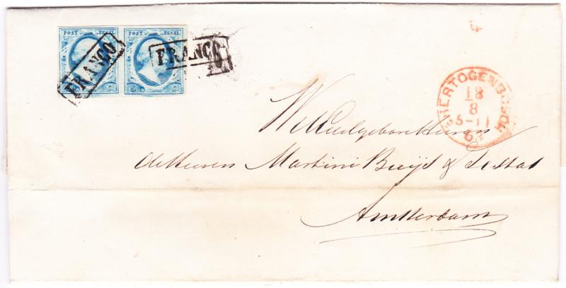 NVPH 1 in paar op complete vouwbrief verzonden vanuit s'Hertogenbosch  18-08-1863