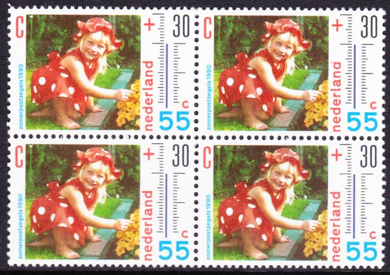 Plaatfout  1444 P in blok van 4  Postfris    Cataloguswaarde  60.00