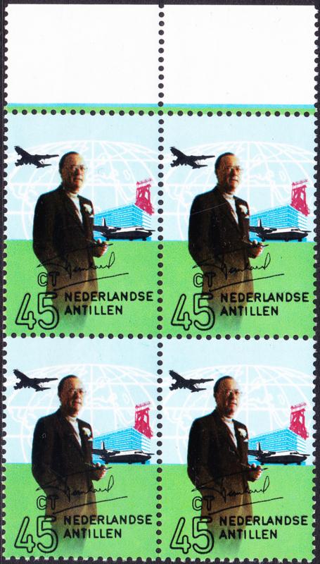 Ned. Antillen plaatfout 440 P Postfris in blok van 4