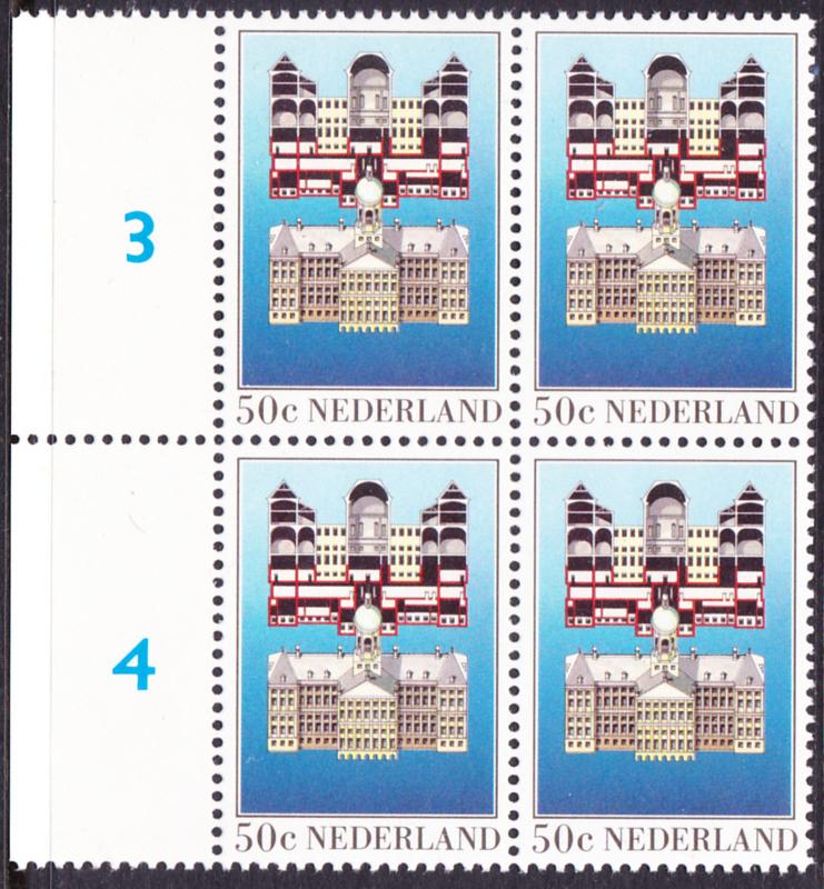 Plaatfout  1273 PM  Postfris  in blok van 4 Cataloguswaarde 6.00