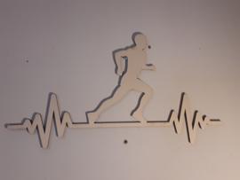 Houten wanddecoratie hardlopen man