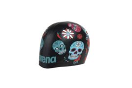 Arena Poolish Moulded Silicone Badmuts - Crazy Skull-Carnival Black